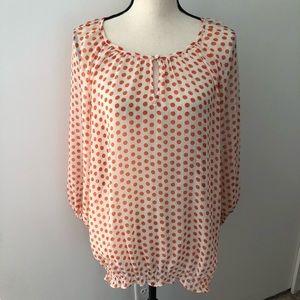 Lord & Taylor semi-sheer orange dot blouse XL